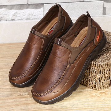 Men Stitching Leather Slip On Casual Shoes