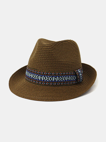 British Wind Small Jazz Straw Hat Outdoor Seaside Sunscreen Sun Hat