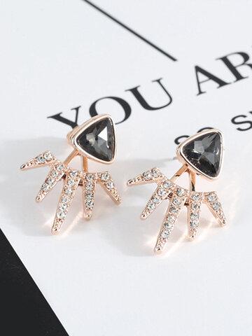 Trendy Black Triangle Earrings