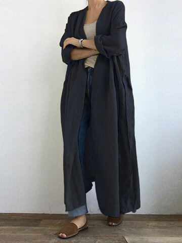 Casual Solid Color Pleated Maxi Cardigan