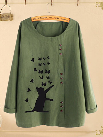 Cat Butterfly Print Button Blouse