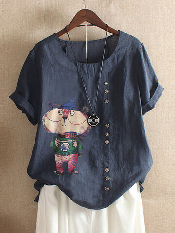 Cartoon Bear Print T-shirt