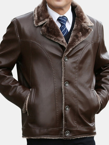 Men's Plus Size Fur Lining Lapel Collar PU Jacket Coat