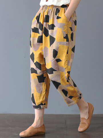 Casual Geometric Print Harem Pants