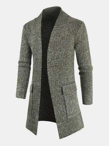 nitted Plain Long Sleeve Sweater Cardigan