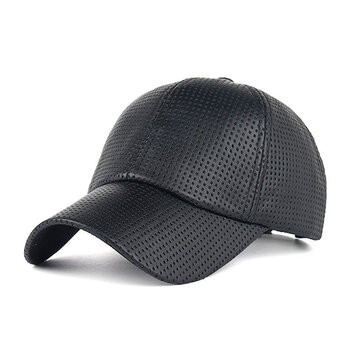 Men Sunshade PU Leather Baseball Cap Outdoor Breathable Mesh Golf Hat фото