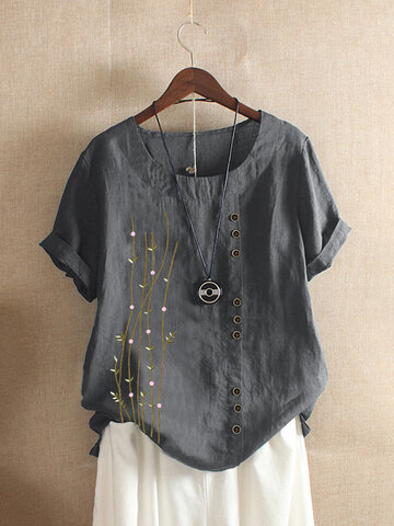 Embroidery O-neck Button T-shirt