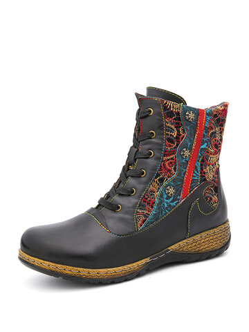 SOCOFY Retro Embroidery Floral Splicing Solid Color Leather Zipper Flat Short Boots