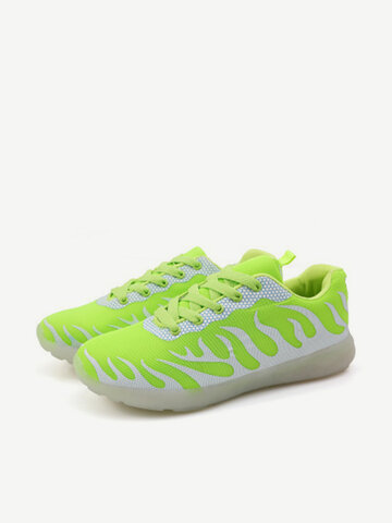 Men And Women Lovers Shoes Fluorescent Light Up Sneaker Lace Up Casual Running Shoes