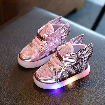 Girls Wings Decor LED Non Slip Casual Sneakers