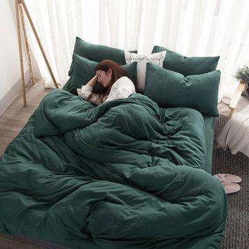 Set biancheria da letto in cotone lavato 4 pezzi