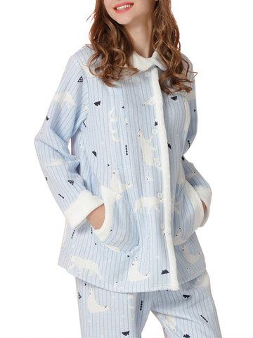 Printed Maternity Nursing Pajamas Set