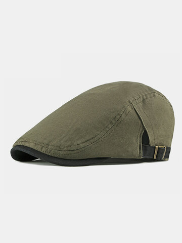 Men Cotton Beret Flat Cap Solid Color Peaked Forward Cap Flat Hat