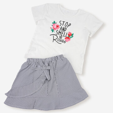 Girl's Printed Tops+Striped Skirt Set For 1-8Y
