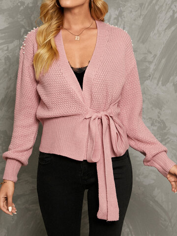 Solid Tie Front Pearl Cardigan
