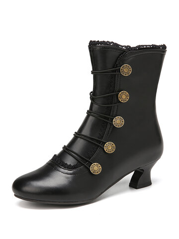 Synthetic Leather Splicing Side Zippers Boots