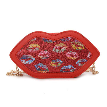 Childen Lips Cute Partchwork Mini Bolsa Crossbody Bolsa