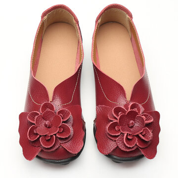 Large Size Flower Leather Flats