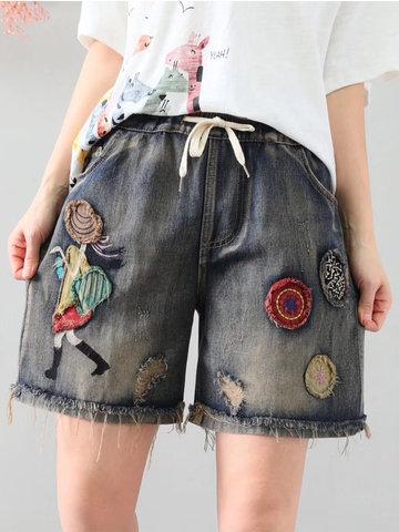 Vintage Elastic Waist Shorts