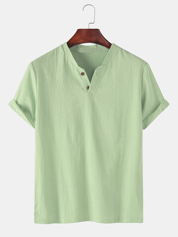100% Cotton Solid Color V-neck T-Shirt