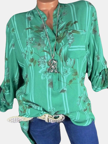 Floral Stripes Print V Neck Blouse, White green blue watermelon red rose red