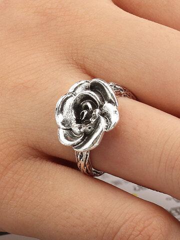 Bohemian Flower Silver Ring