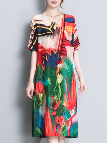 Floral Printed Casual Silk Summer Dresses