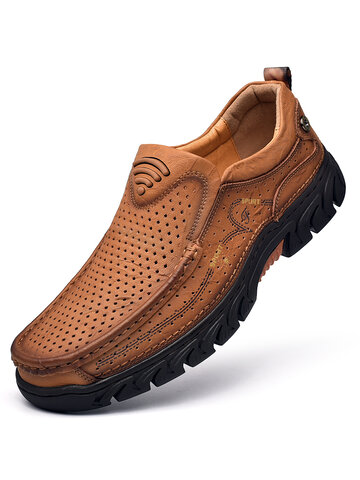 Men Genuine Leather Non Slip Outdoor Casual Shoes