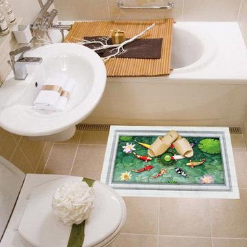 3D Removable Bathroom Floor Sticker Lifelike Stereoscopic Lotus Pond Fish Wall Sticker