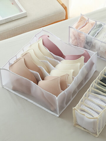 Practical Multi-grids Underwear Storage Box Sock Bra Underpant Organizer Lattice Mesh Drawer Tidy Divider
