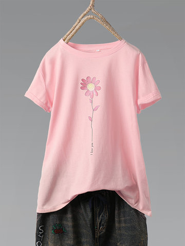 Casual Flower Print T-Shirt