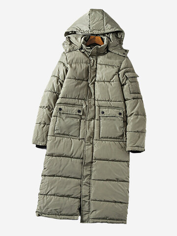Solid Color Thick Hooded Coat