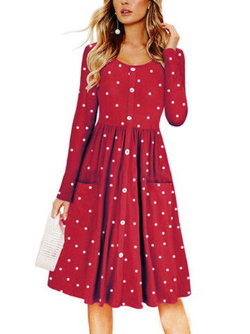 Print Polka Dot A-line Pockets Loose Dress