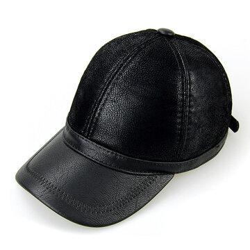 Cappello da baseball da uomo in pelle PU con berretto da baseball Cappello nero con paraorecchie e paraorecchie