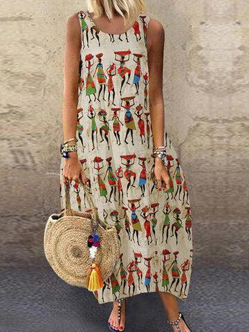 Vintage Print Sleeveless Dress