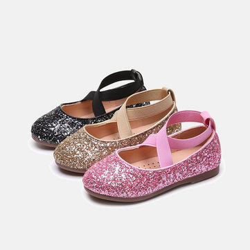 Girls Shining Sequined Dancing Flat Shoes