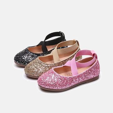 Girls Shining Sequined Dancing Flat Shoes