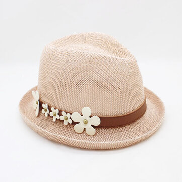 Pure Color Curled Straw Hat Small Daisy Sun Hat