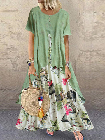 Print Patchwork Maxi Dress
