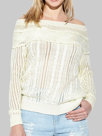 Solid Color Hollow Casual Sweater
