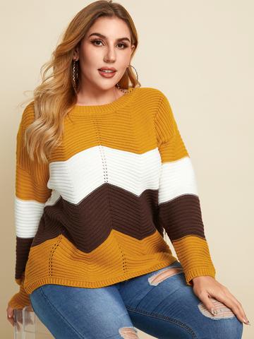 O-Ausschnitt-Pullover mit gestreiftem Print
