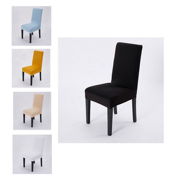 2 Pcs Solid Color Removable Stretch Slipcovers Home Wedding Dining Lycra Spandex Chair Seat Cover