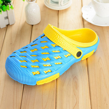 Big Size Hollow Out Color Match Sandals Slip On Flat Slippers, Pink purple light blue watermelon red black royal blue navy blue gray khaki black green