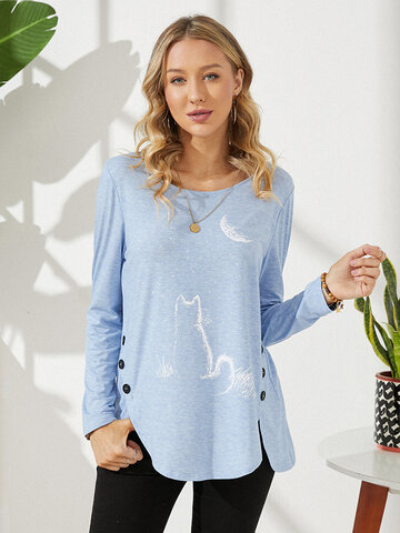 Cat Moon Printed Casual Blouse