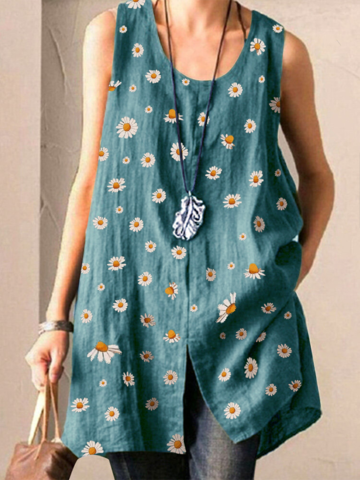 Daisy Print Split Tank Top