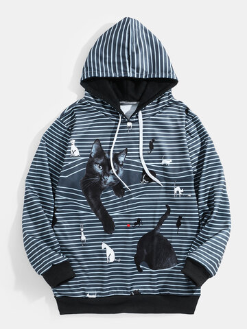 Cute Cat Print Horizontal Stripe Hoodies
