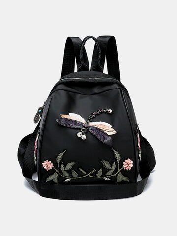 Chinese Style Embroidered Butterfly Dragonfly Large Capacity Backpack