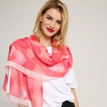 Women Cotton Blend Love Printed Scarves