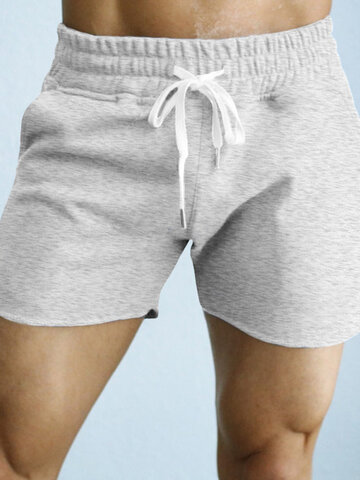 Pantalones cortos casuales de algodón de color puro