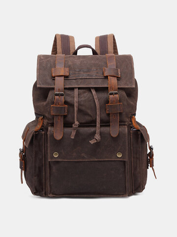 Retro Outdoor Waterproof Genuine Leather Canvas Patchwork Hiking Travel Backpack
